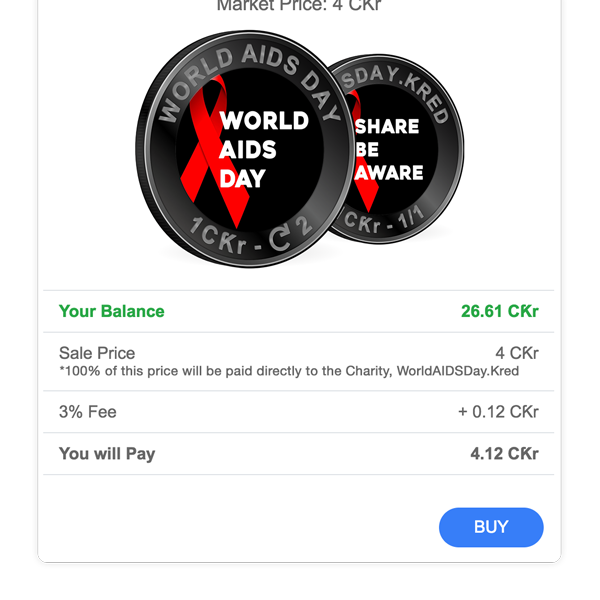 Whenever a Charity Coin is sold in Crypto.Ƙred, 100% of the Sale Price is directly paid back to the Charity that issued the Coin, no matter who is selling the Coin
